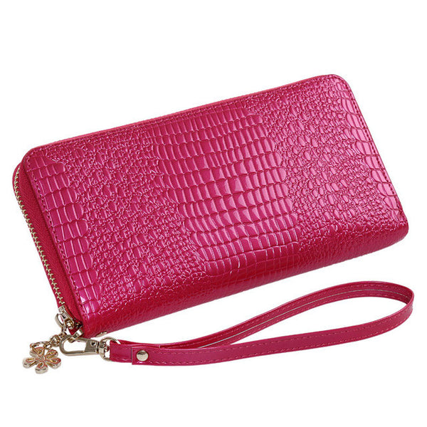 Women's Leather Alligator Style Wallet with Zipper - Secure Wallet & Phone