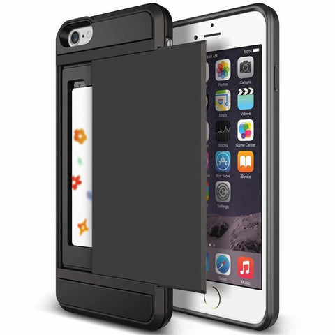Armor Style Hybrid Case For iPhone 5 5S SE 6 6S 7 With Slider & Card Holder - Secure Wallet & Phone