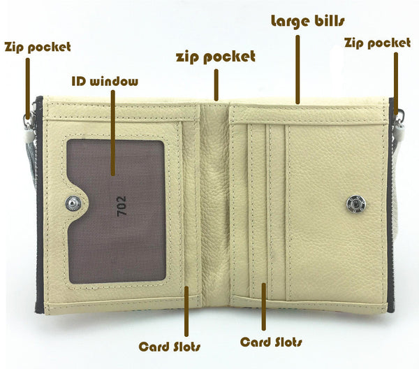 Women's Leather Pirate Mini Wallet - Secure Wallet & Phone