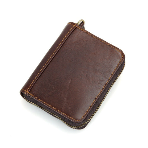 Leather Card Holder Zipper Around Wallet with RFID Blocking Technology - Secure Wallet & Phone