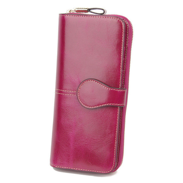 Women's Leather Clutch Wallet with RFID Signal Blocking Technology - Secure Wallet & Phone