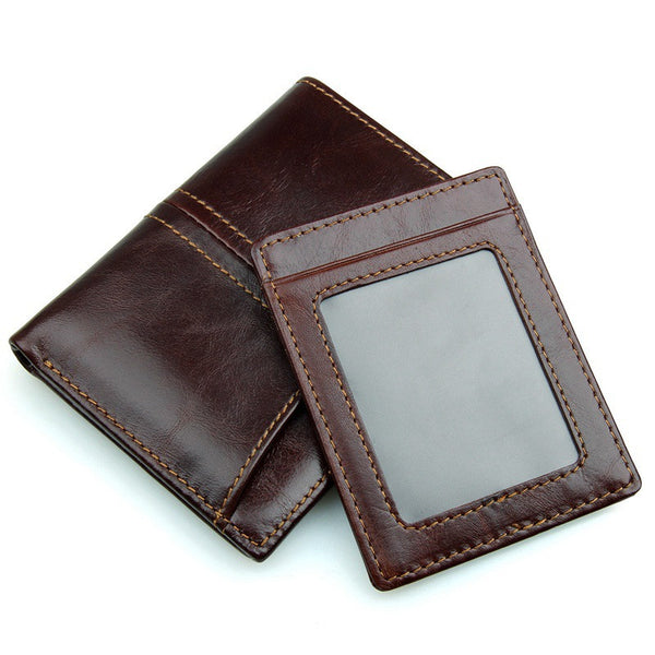 Leather Bi-fold Double ID Card Window Wallet with RFID Blocking Technology - Secure Wallet & Phone