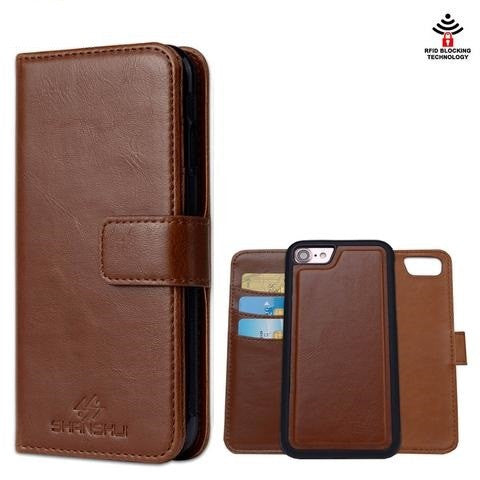 Leather Case for iPhone 5 SE 5s,6 Plus 6 6s Plus, 7 7 Plus, 5 SE 5s Magnetic Detachable Flip Wallet Handbag Phone Bag with RFID Blocking Technology - Secure Wallet & Phone