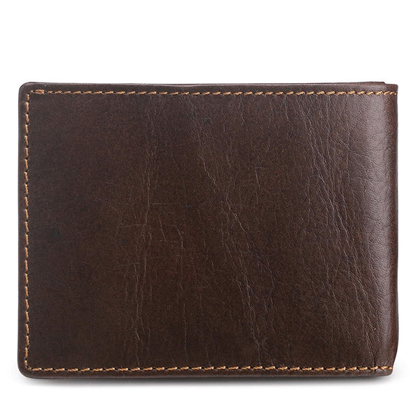 Men's Genuine Leather Bifold Slim Wallet with RFID Signal Blocking Technology - Secure Wallet & Phone