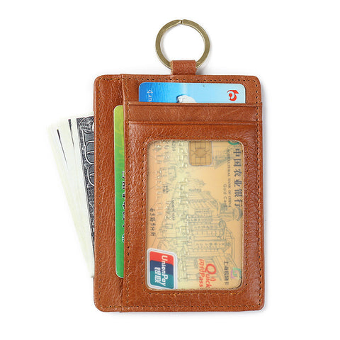 Slim Leather Credit/ID Card Pocket Wallet with RFID Signal Blocking Technology - Secure Wallet & Phone