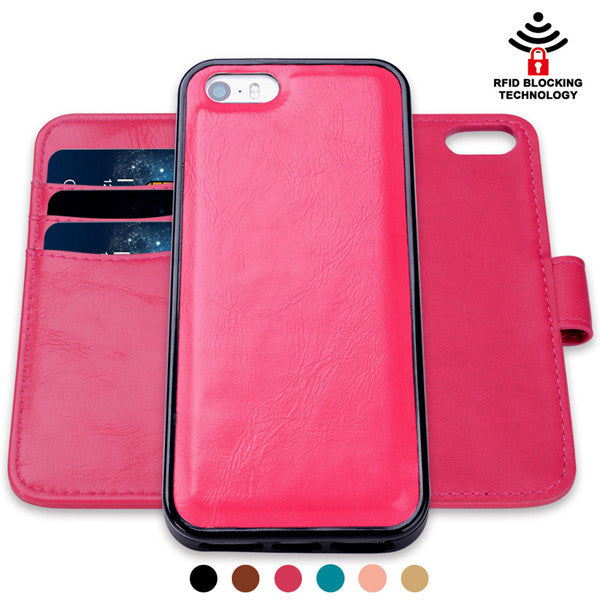 iPhone SE 5 5s PU Leather Wallet Magnetic Flip Phone Case with RFID Signal Blocking Technology - Secure Wallet & Phone