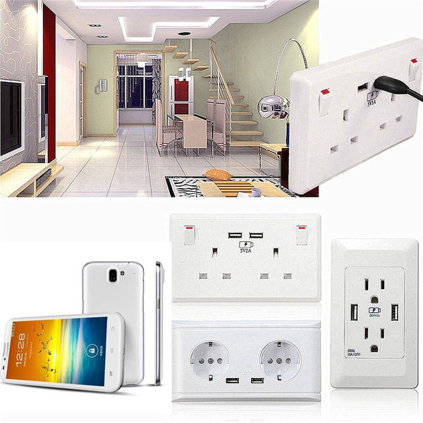 Dual USB Socket 5V 2A Charger For Mobile Phone Tab Electrical Wall Plug Adapter Two USB Outlets - Secure Wallet & Phone