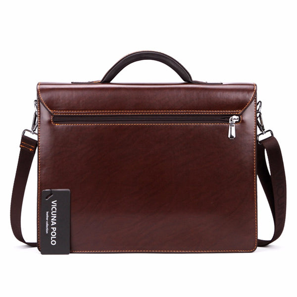 VICUNA POLO Italian Style Leather Briefcase - Secure Wallet & Phone
