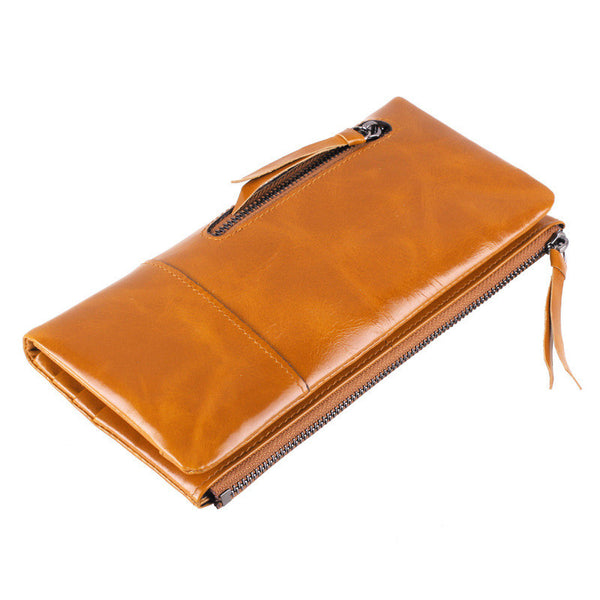 Women's Leather Clutch Wallet - Secure Wallet & Phone