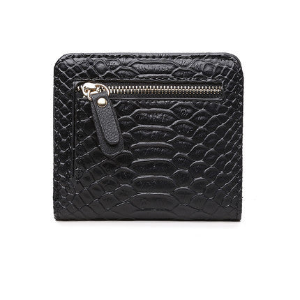 Women's Serpentine Short Leather Wallet - Secure Wallet & Phone