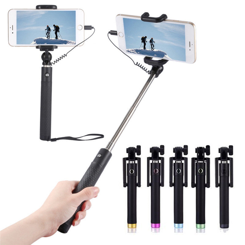 Wired Selfie Stick for iPhone 5 5C 5S SE 6 6S 7 Plus - Secure Wallet & Phone