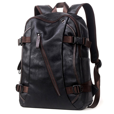 Handmade Leather Rucksack Style Backpack - Secure Wallet & Phone