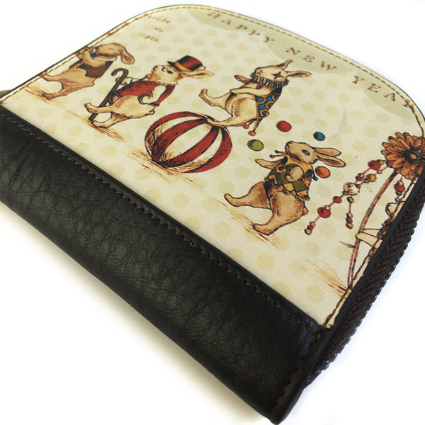Women's Leather Circus Mice Coin Purse - Secure Wallet & Phone