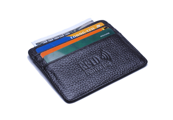 New Slim Leather ID Window Wallet With RFID Blocking Signal Blocking Technology - Secure Wallet & Phone