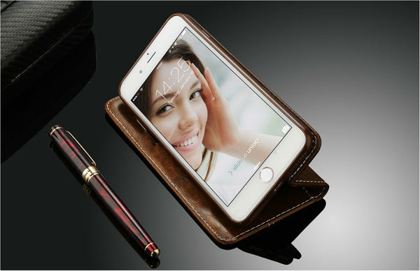 New Leather Wallet Flip iPhone Case With Card Slots For iPhone 4 4s 5 5s SE 6 6 Plus X 7 8 6 Plus - Secure Wallet & Phone
