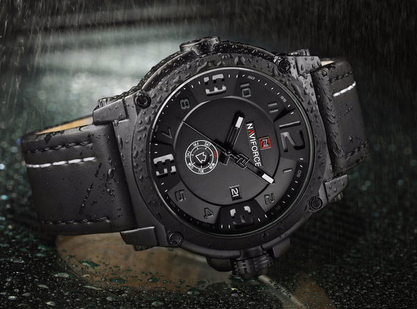 New NAVIFORCE Mens Waterproof Leather Strap Quartz Watches - Secure Wallet & Phone