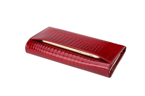 Women's Long Leather Alligator Style Wallet - Secure Wallet & Phone