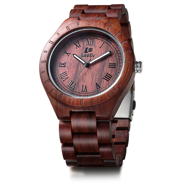 Natural Handmade Zebra Sandal Wooden Watches - Secure Wallet & Phone