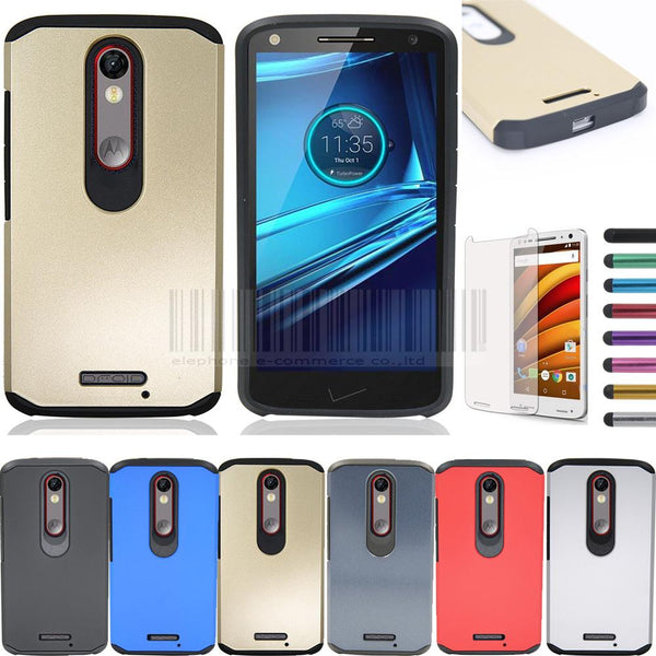 Slim Impact Protective Hybrid Armor Case For Motorola Moto X force/Droid Turbo 2 With Screen Protector - Secure Wallet & Phone