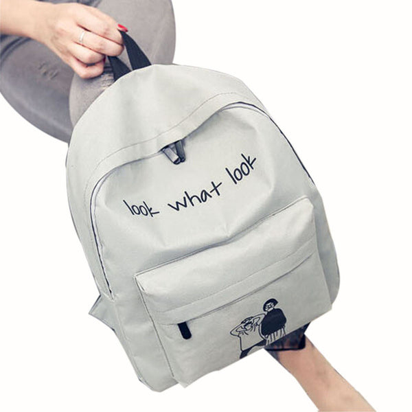 "Canvas ""Look What Look"" Satchel Backpack - Secure Wallet & Phone"