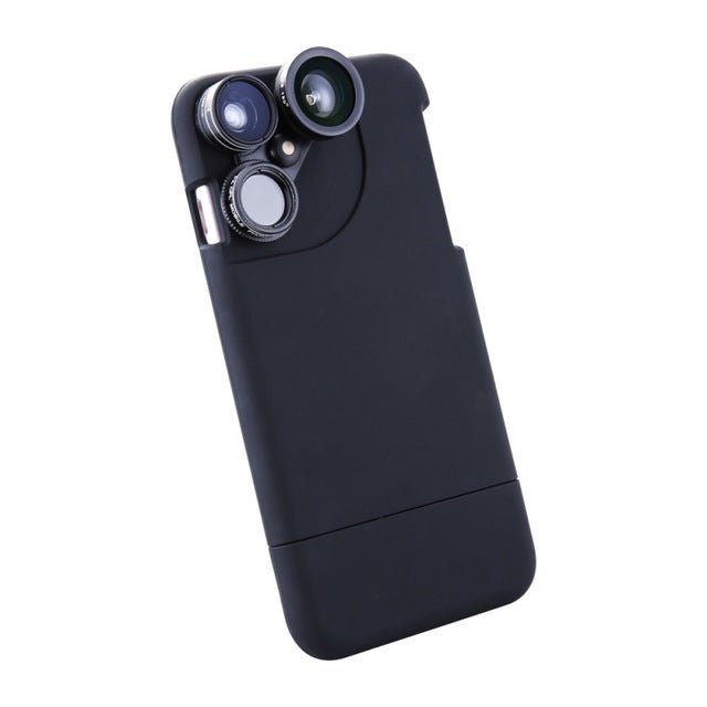 4-in-1 Mobile Phone Lens Kit Fisheye Macro Wide Angle CPL Phone Case For iPhone 6 7 Plus & 8 With 360 Degree Rotary Switch Lens Group - Secure Wallet & Phone