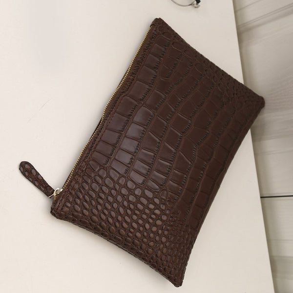 Women's Alligator Envelope Handbag - Secure Wallet & Phone