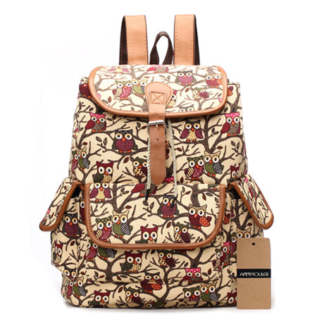 Womens Large Canvas Laptop Backpacks Owl Print & More - Secure Wallet & Phone