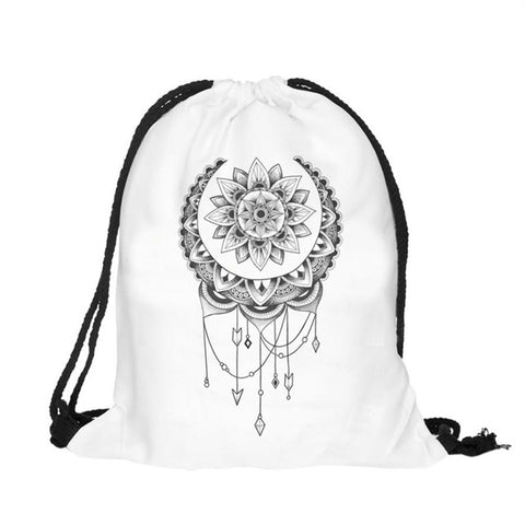 Small Grey & Dream Catcher Drawstring Travel Bags - Secure Wallet & Phone