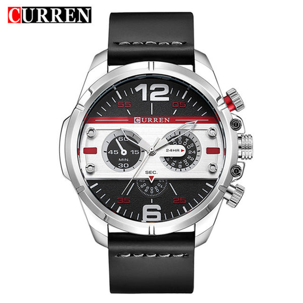CURREN 8259 Men's Leather Sport Quartz Watch - Secure Wallet & Phone