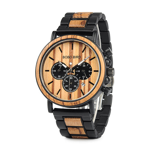 BOBO BIRD Men's Wooden Military Quartz Watches With Stainless Steel Chronograph - Secure Wallet & Phone