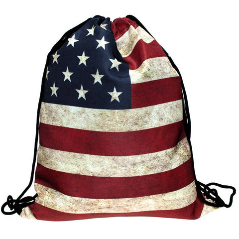 New USA Drawstring Travel Bag - Secure Wallet & Phone