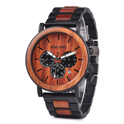 New BOBO BIRD Metal & Wooden Case Auto Date Male Sports Watch - Secure Wallet & Phone
