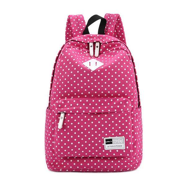 New Canvas Dot Print School Backpacks - Secure Wallet & Phone