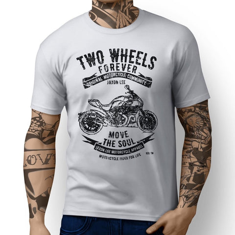 "New ""Two Wheels Forever"" Motorcycle Rider's T-Shirt 100% Cotton - Secure Wallet & Phone"