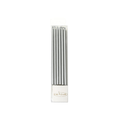 12CM TALL CAKE CANDLES SILVER (PACK OF 12)