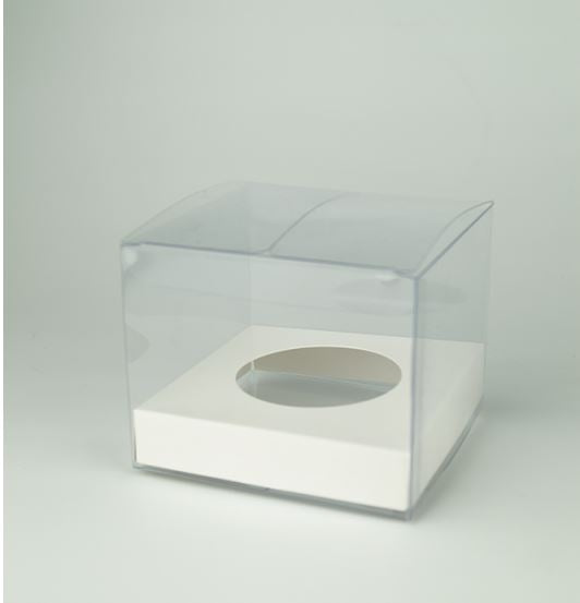 1 SINGLE CLEAR CUPCAKE BOX WITH WHITE/Silver reversable BASE: 100 PACK