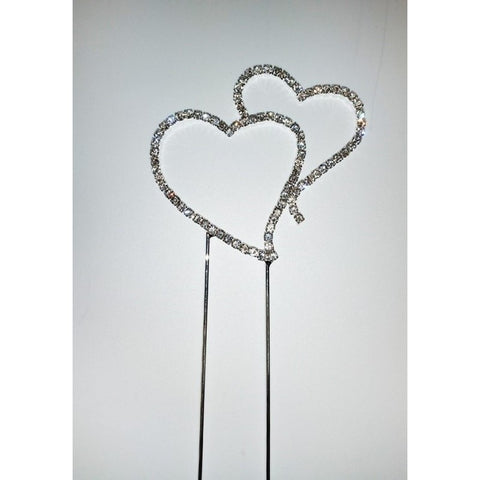 DIAMANTE DOUBLE HEARTS - SMALL - CAKE TOPPER