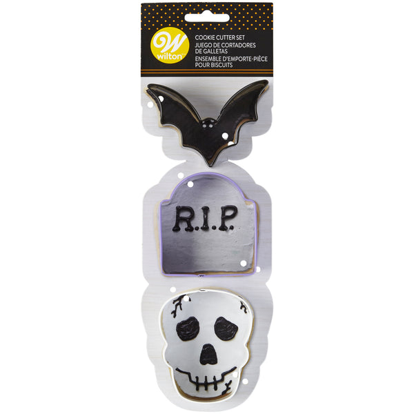 WILTON Metal Bat, Tombstone & Skull Cookie Cutter Set - Halloween