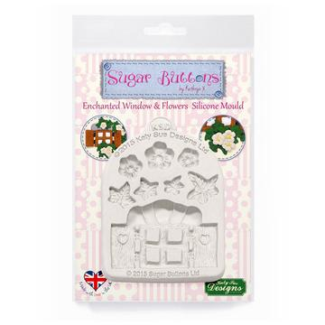 Enchanted Window & Flowers Sugar Buttons Mould - Katy Sue Mould