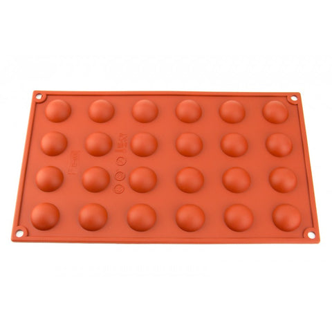 30mm - 24 CAVITY HEMISPHERE SILICONE CHOCOLATE MOLD - FLEXIBLE BAKING MOULD