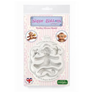 Monkey Sugar Buttons Silicone Mould - Katy Sue Mould