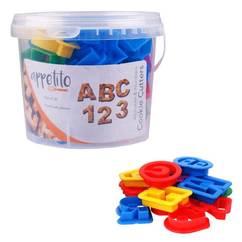 Alphabet & Number Cookie Cutters 36 Pce in Tub