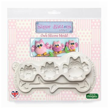 Owls Sugar Buttons Silicone Mould - Katy Sue Mould