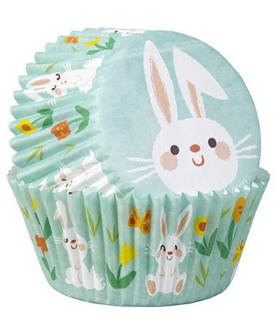 WILTON STANDARD BAKING CASES - PACK OF 75 - EASTER BUNNY