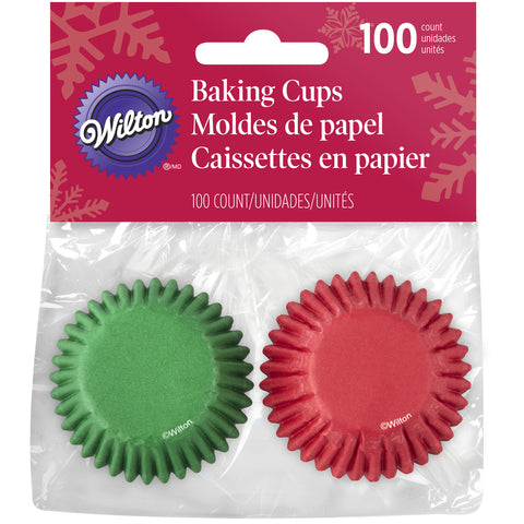 WILTON RED AND GREEN MINI BAKING CUPS 100PC
