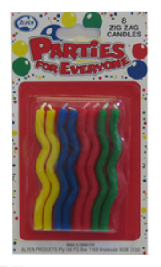 Zig Zag Candles - green, red, blue and yellow