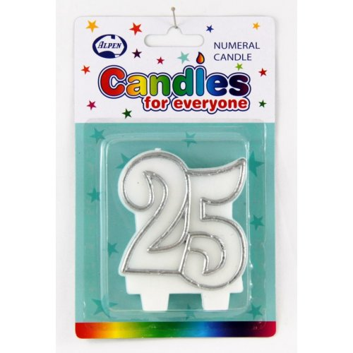 # 25 (Silver & White) Candle