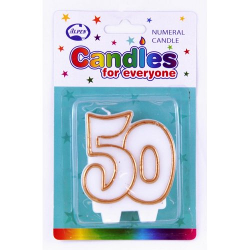 # 50 (Gold & White) Candle