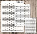 9024 Pattern - Bricks outline - Set of 3 Stencils