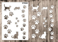 Stencil 9046 Pattern - Dog Paws and Cats - 1 A6 Stencil